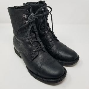 Born 'Kelisa' Lace-Up Black Leather Combat Boots